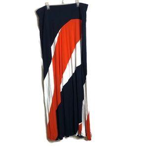 Lane Bryant Orange and Blue Maxi Skirt